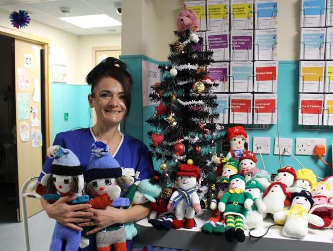 Joyce is a purl for knitting toys for the children at Christmas