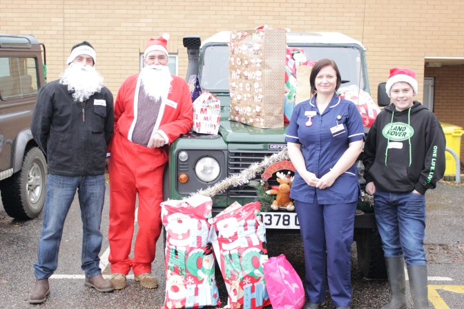 Land Rovers replace reindeer for Santa's QEH present drop-off