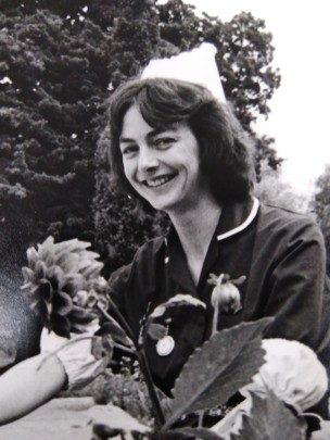 Claire Roberts working as a nurse in the 1980s